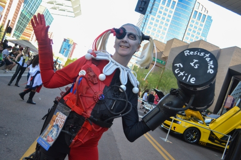 Flavin shows her Harley Quinn costume at Comicon in downtown Phoenix Saturday afternoon.